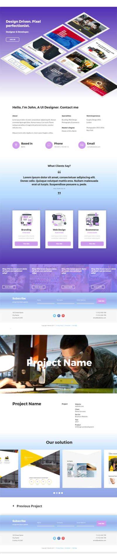 3d portfolio divi layout