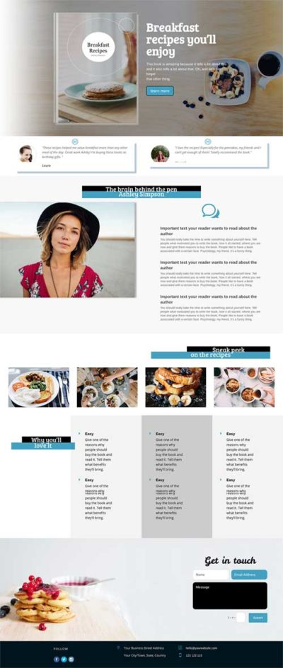 Book author free divi layout