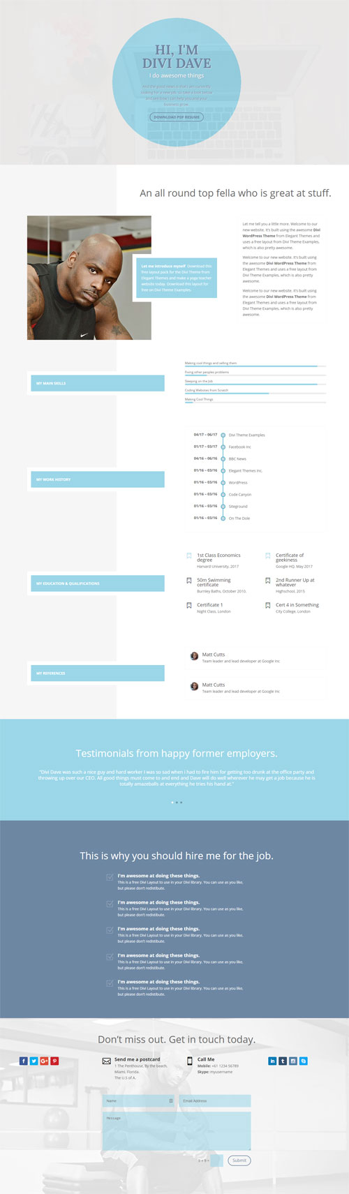 ResumeCV 1 Page layout Divi Theme Layouts