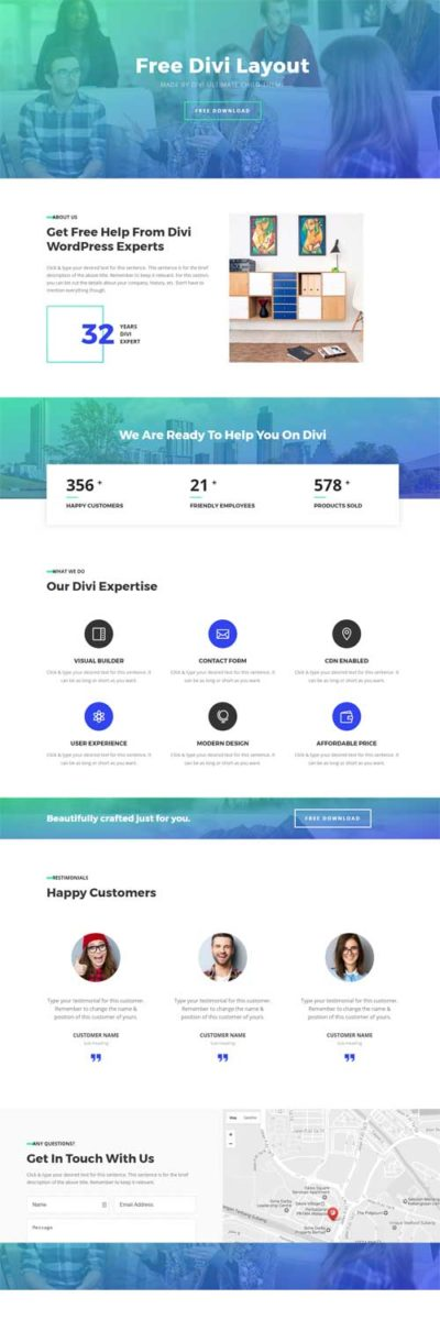 divi 1 page layout
