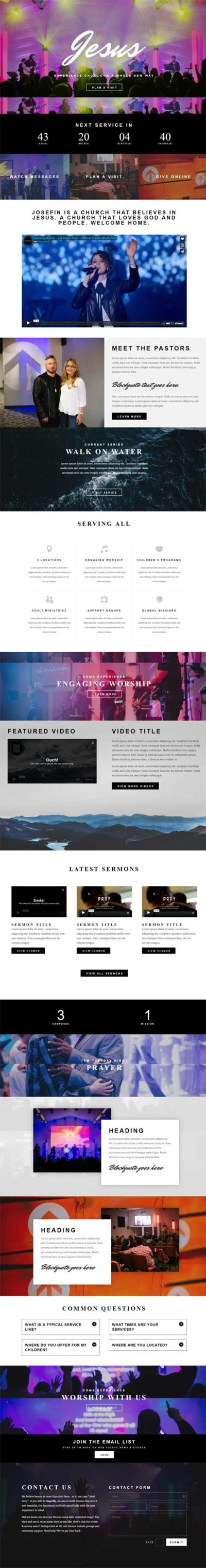 Divi Theme church layout