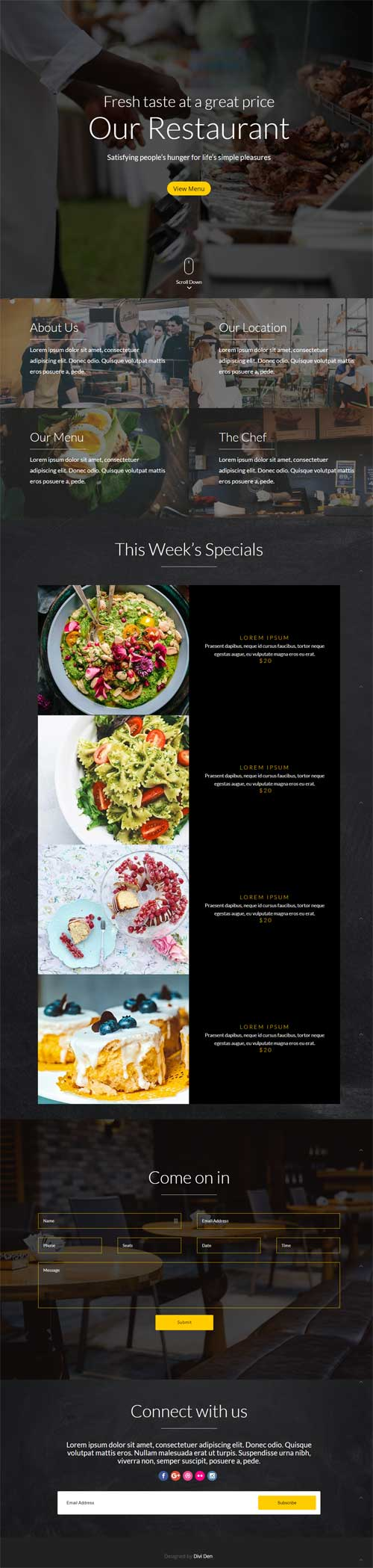 Free Divi restaurant layout