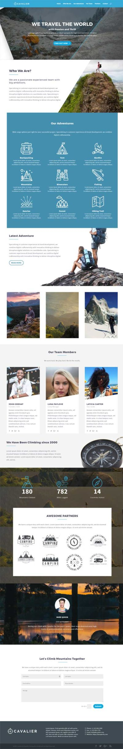 Divi layout for outdoor adventure