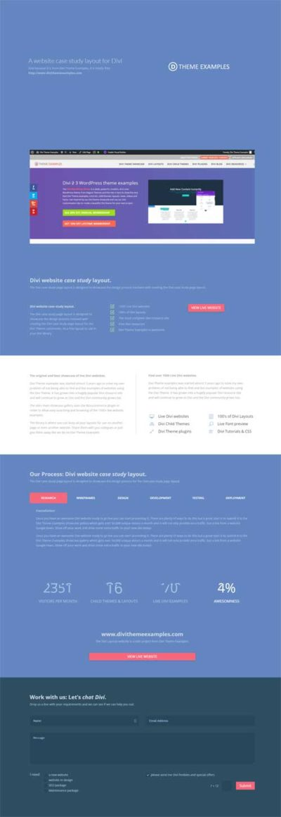 Divi Theme case study layout