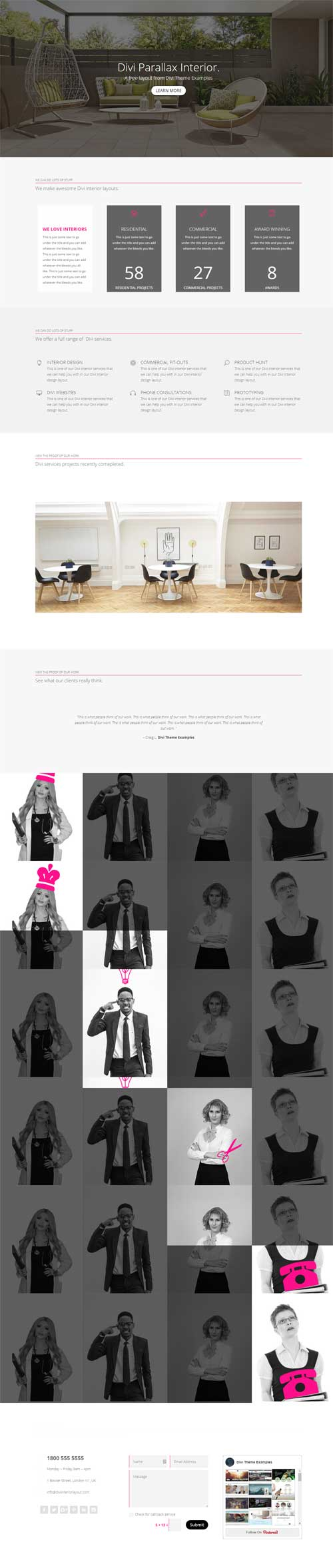 divi interior design agency layout download