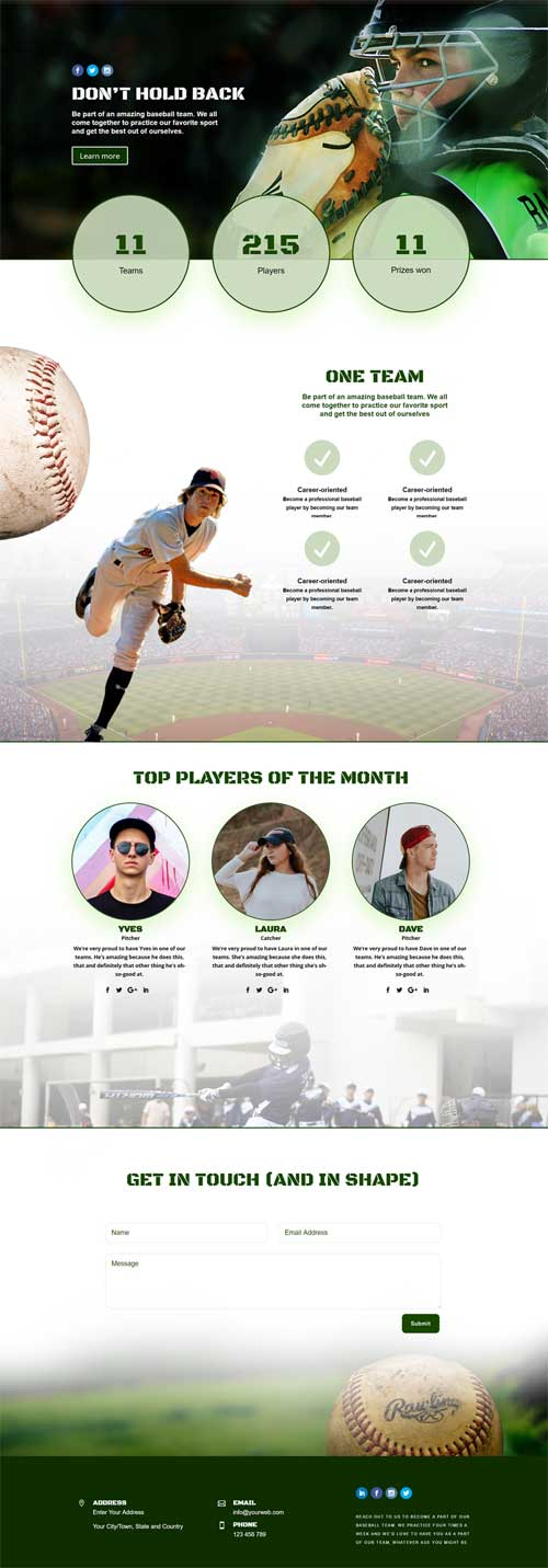 Download free sports club layout for Divi Theme