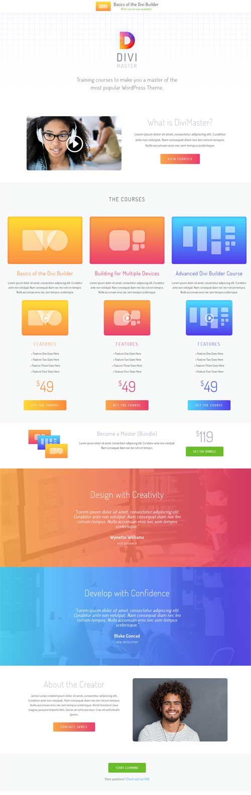 Divi course page layout