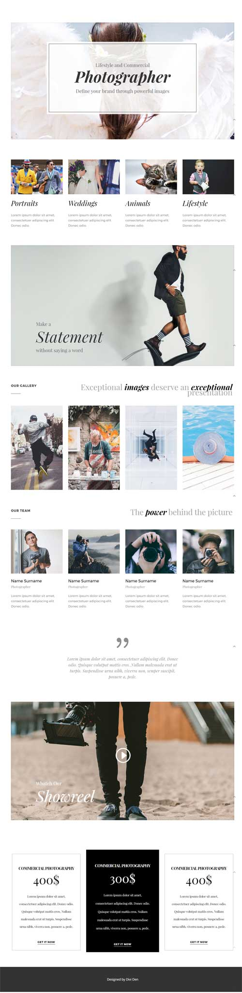 divi photography layout