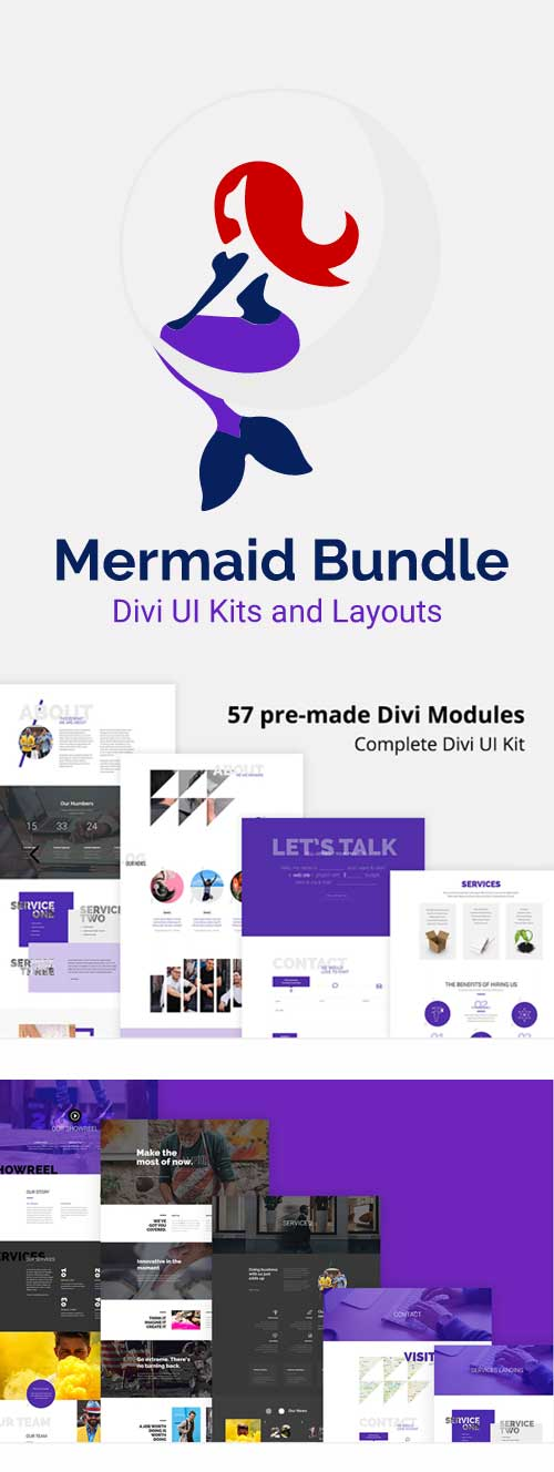 Divi mermaid layout pack from Divi Den