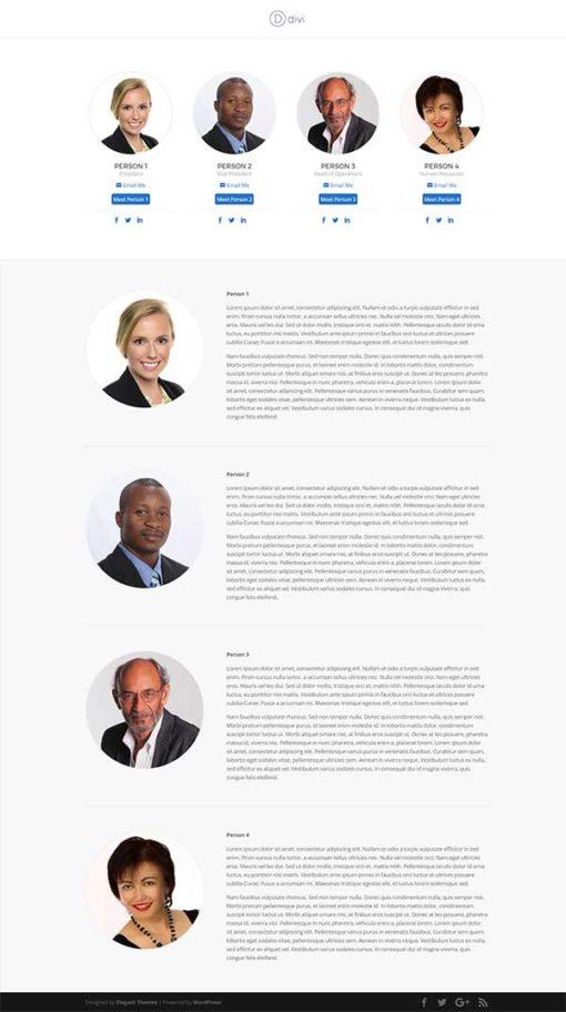 divi team member 1 page layout