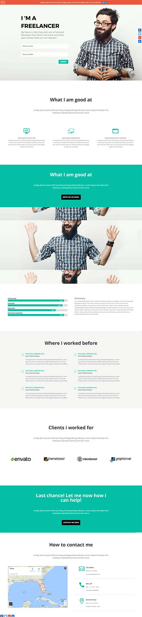 free divi landing page layout download