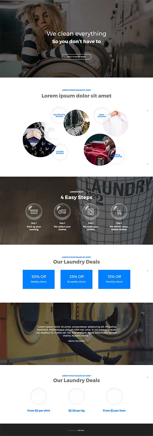free divi theme layout for laundry service