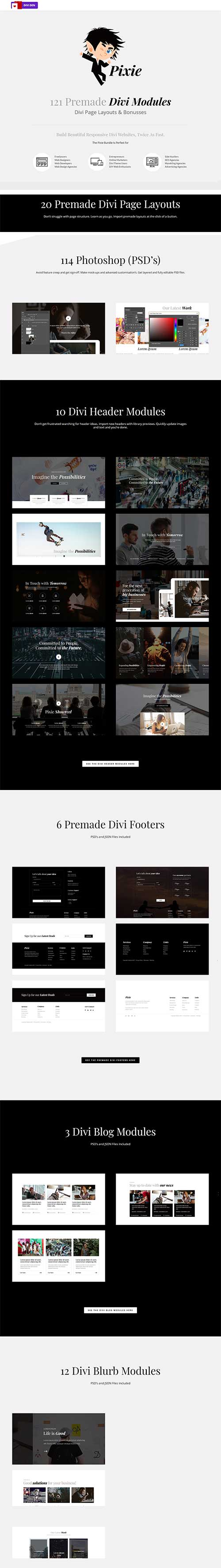 divi pixie layout pack bundle