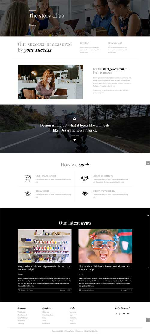 free about us layout for Divi Theme