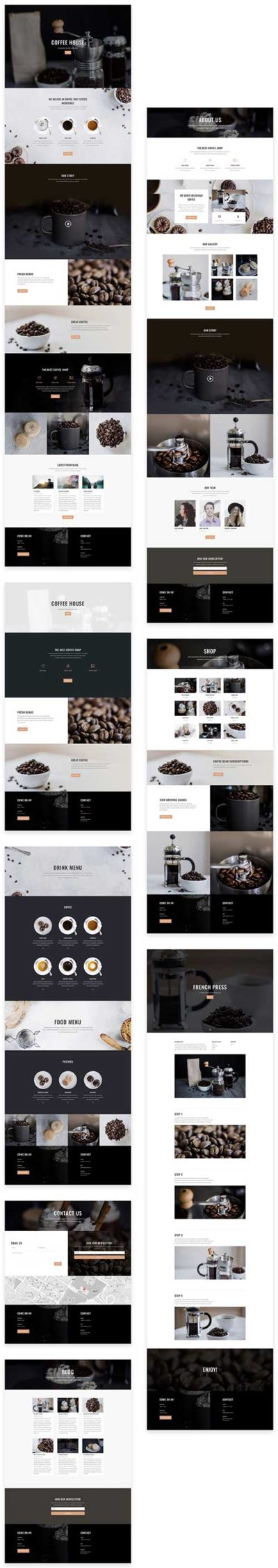 free divi layout for cafe or coffee shop