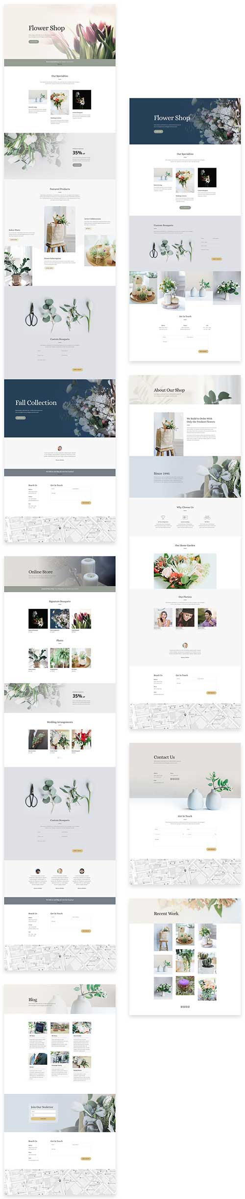 free Divi layout for florist shop
