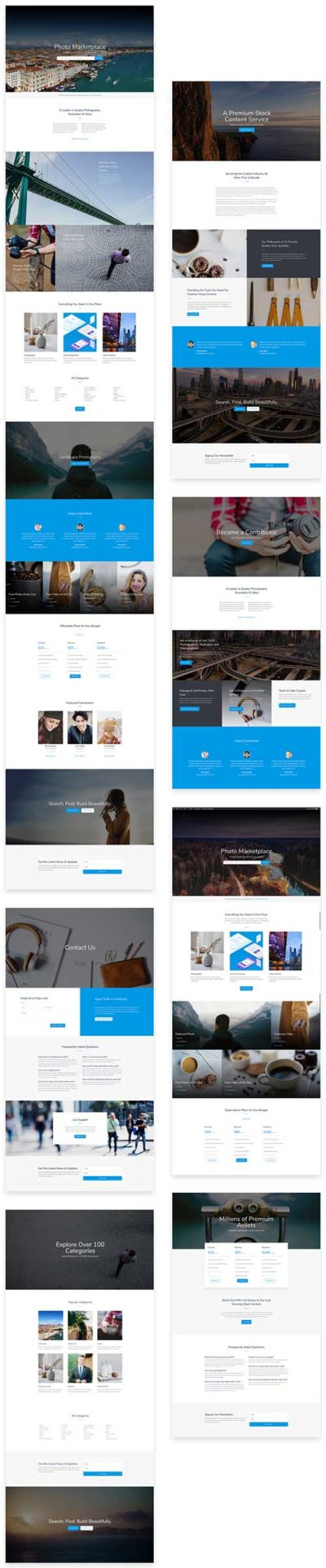 free divi layout for photo marketplace shop