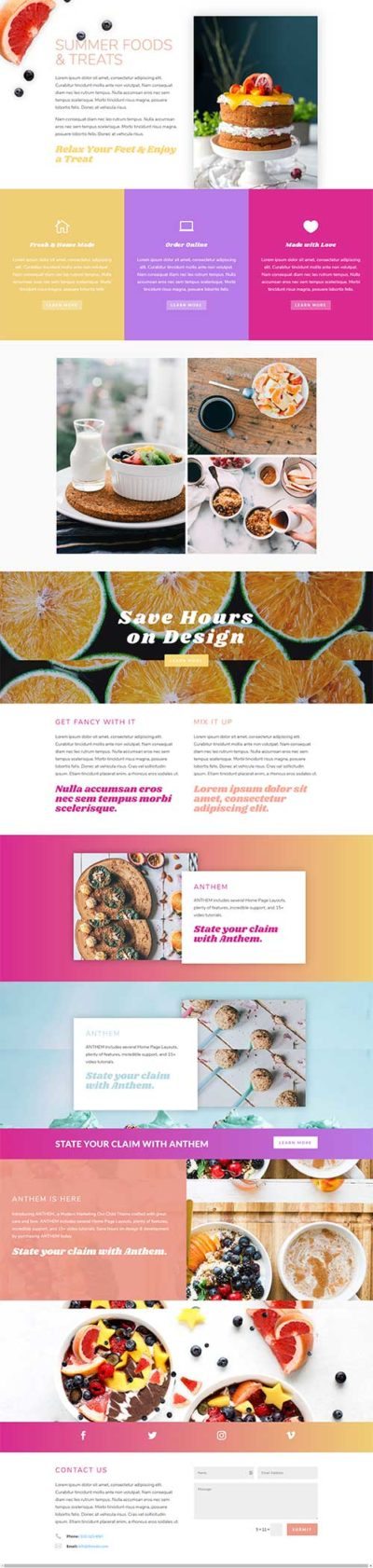 anthem foods layout divi theme