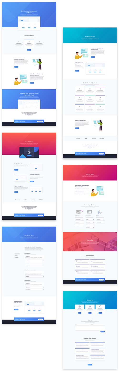 free Saas layout pack for Divi Theme