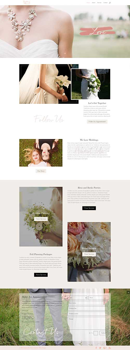 wedding planner 1 page divi layout