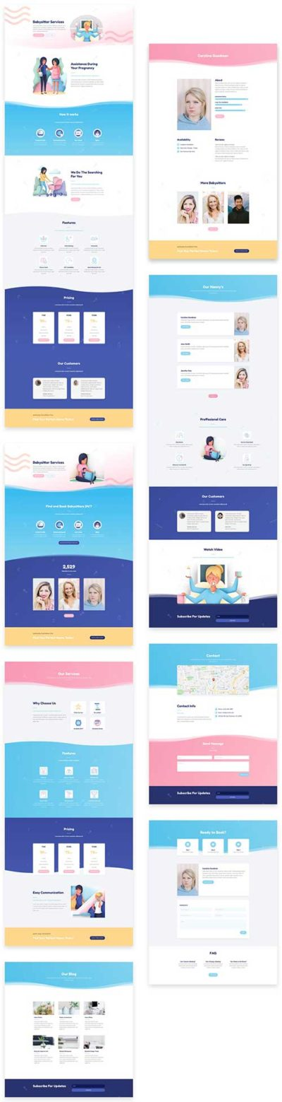 free divi layout for baby sitter services