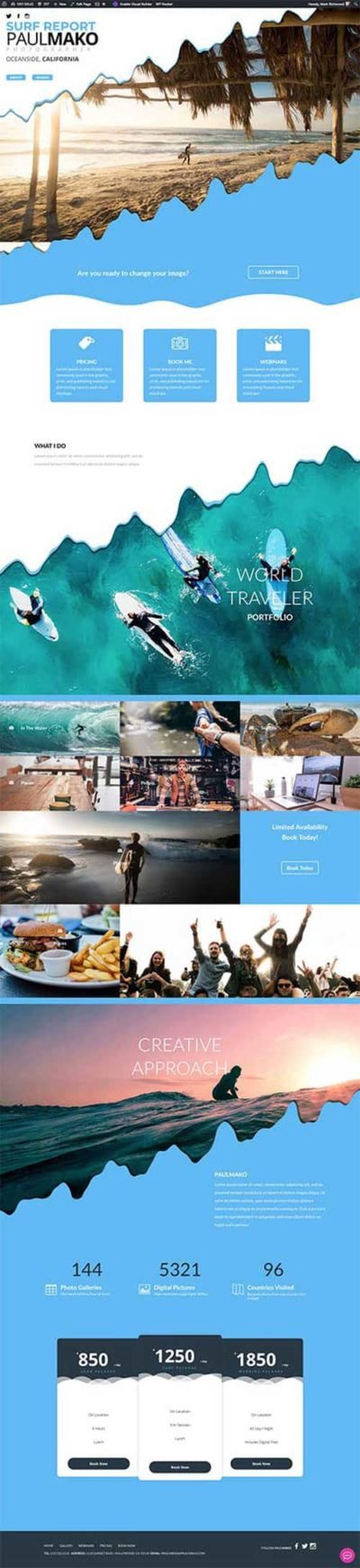 divi layout for surf report beaches