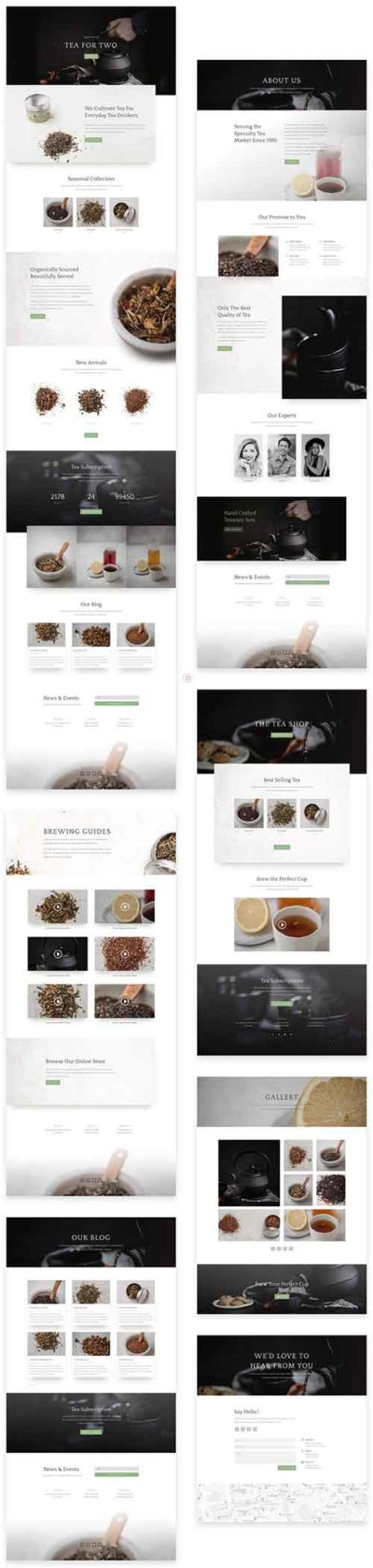 divi layout for online tea shop