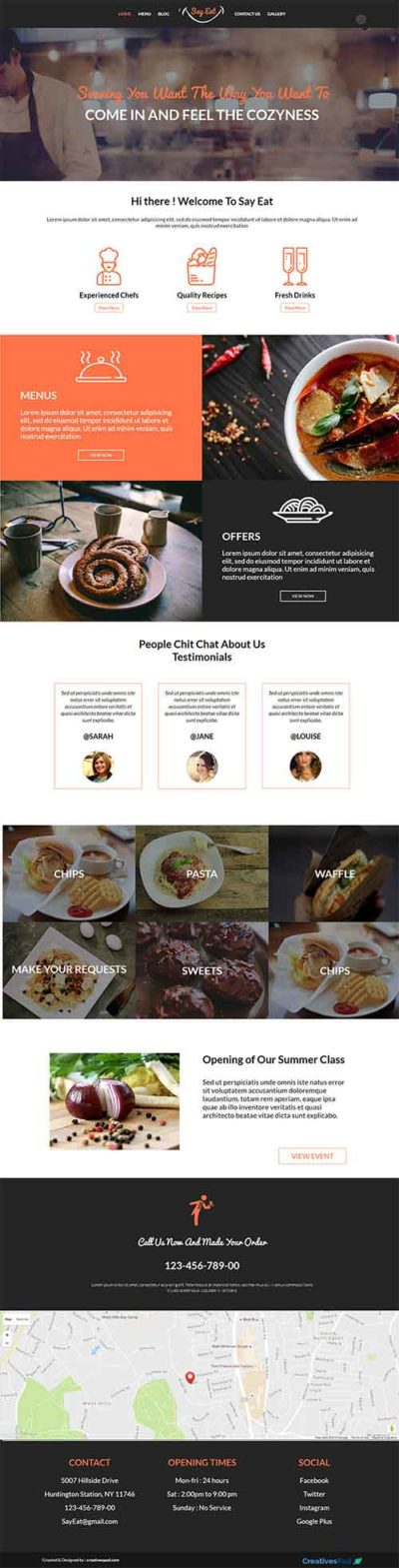 Food drink layouts for divi on theme page