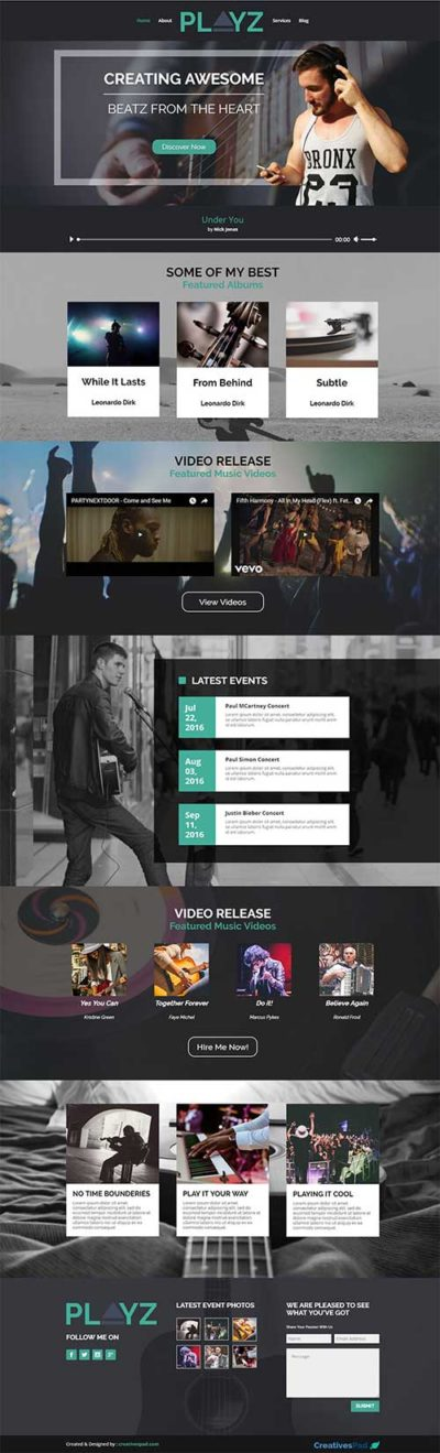 free divi layout for musician