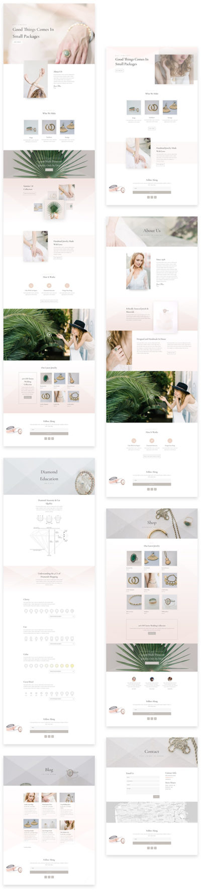 divi layout for jewellery store
