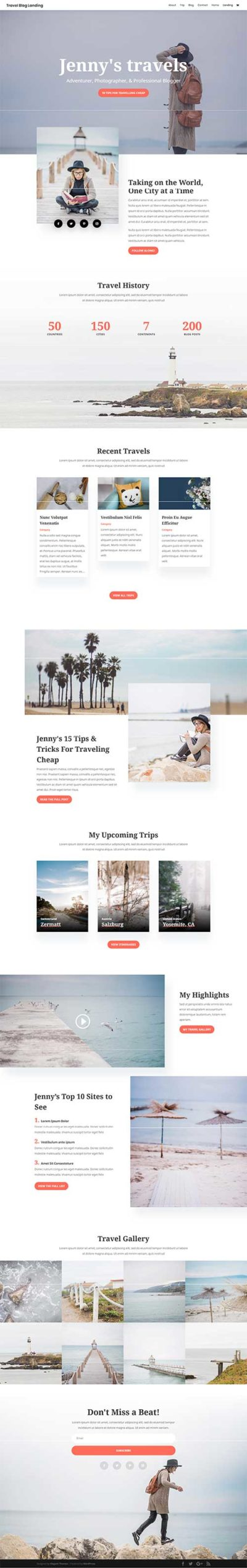 divi travel blog free layout pack