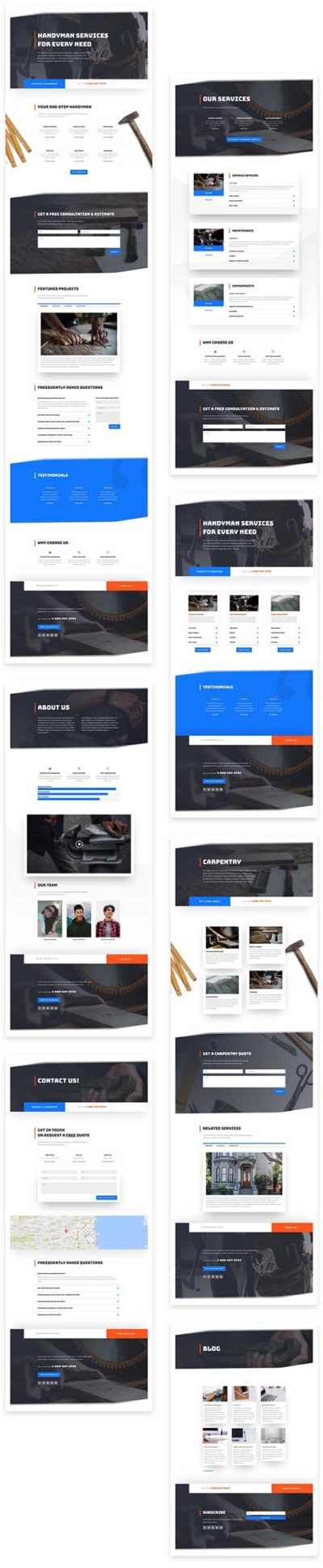 free handyman divi layout pack