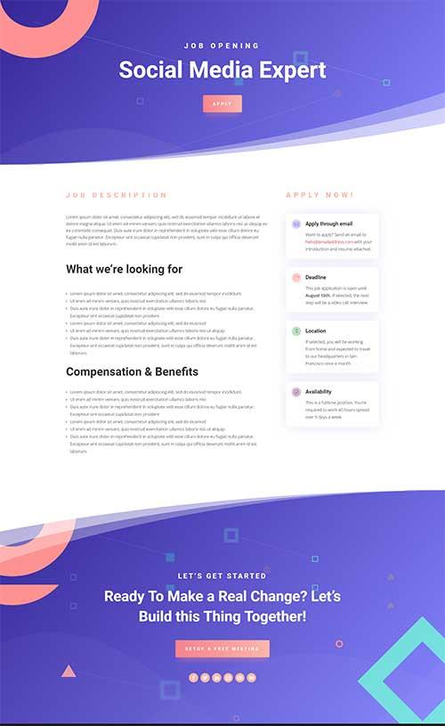 divi job posting layout template