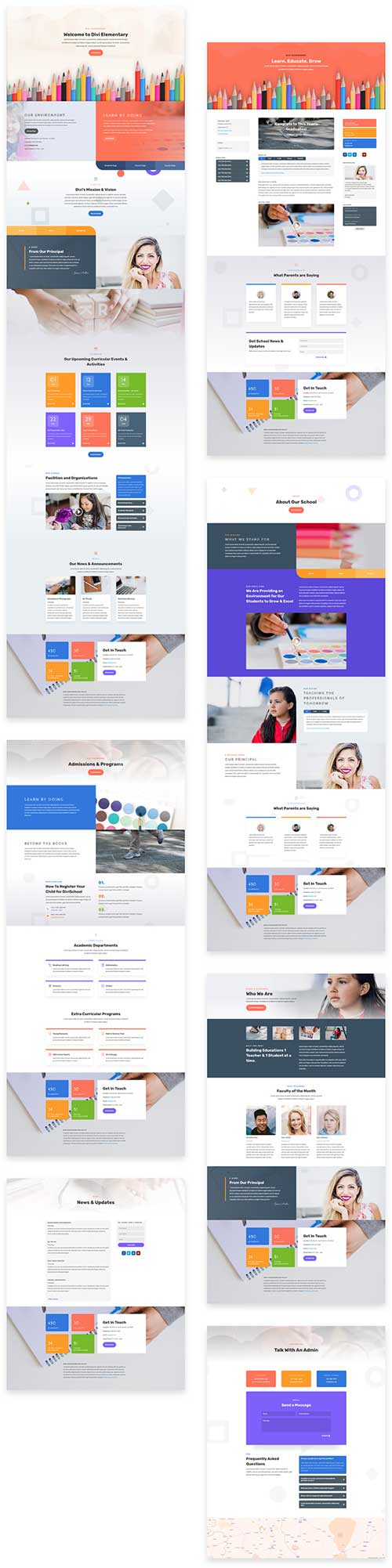 divi layout pack elementary school