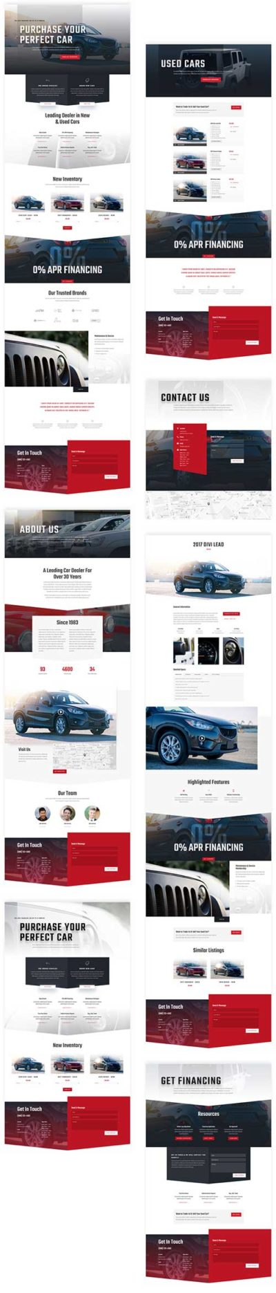free car dealership Divi layout pack