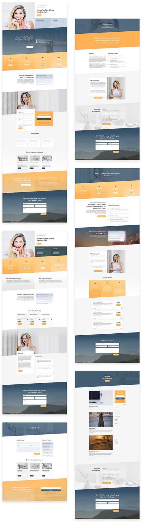 free Divi layout for Life Coach