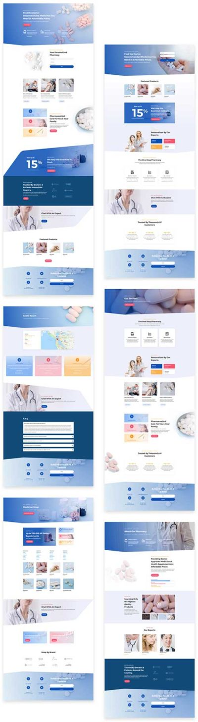 Divi pharmacy layout pack