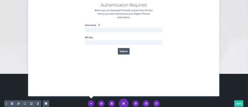 divi layout authentication