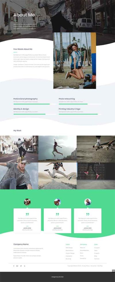 divi about me page template