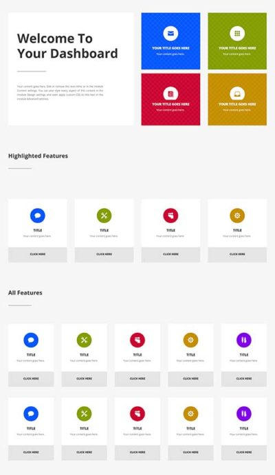divi dashboard layout
