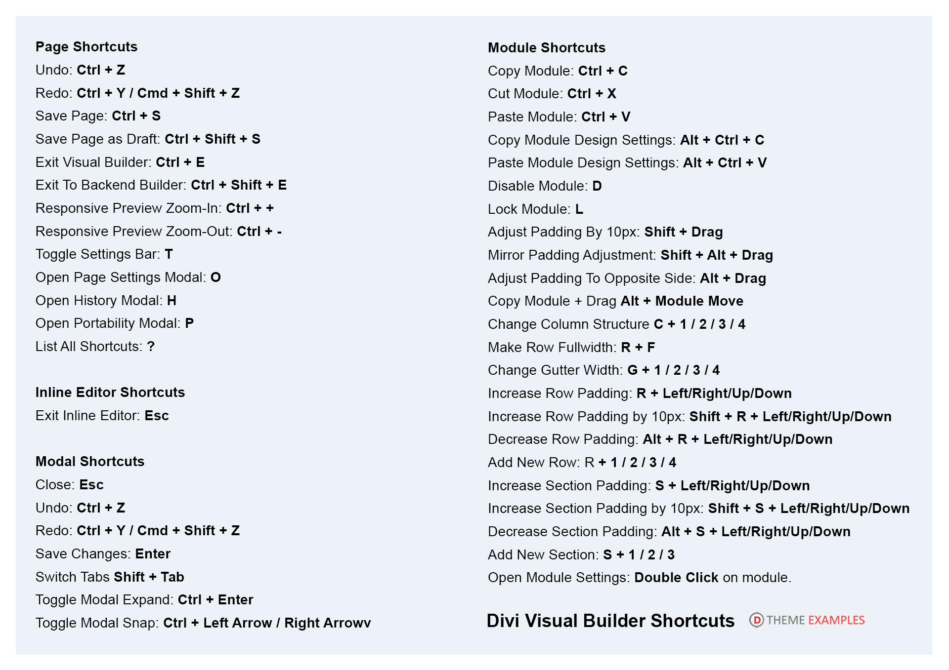 View all the Divi keyboard shortcut keys (+ Free Download)
