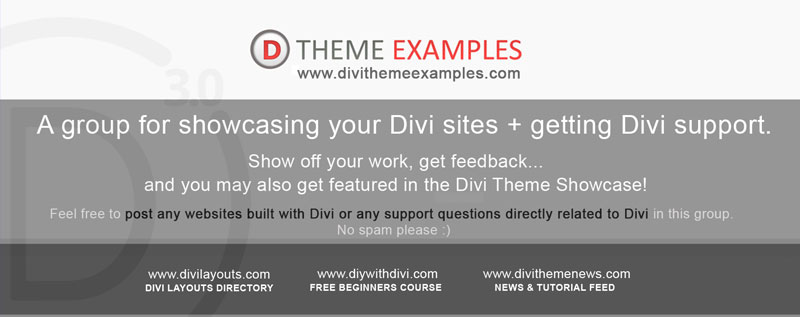 Divi Theme Examples facebook group