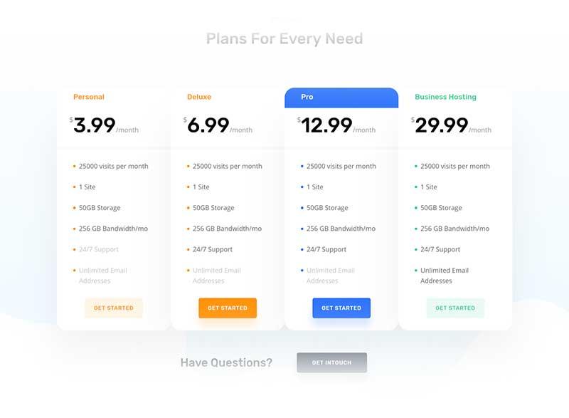 Divi Hosting pricing table
