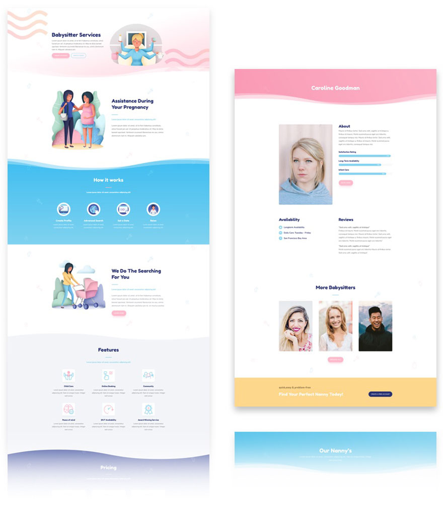 free divi layout babysitters