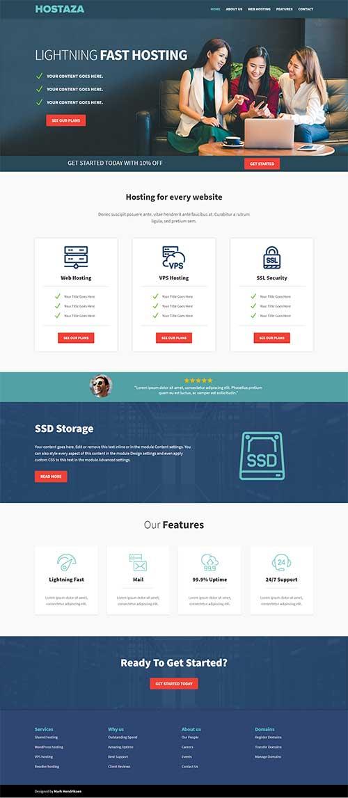 divi web hosting template