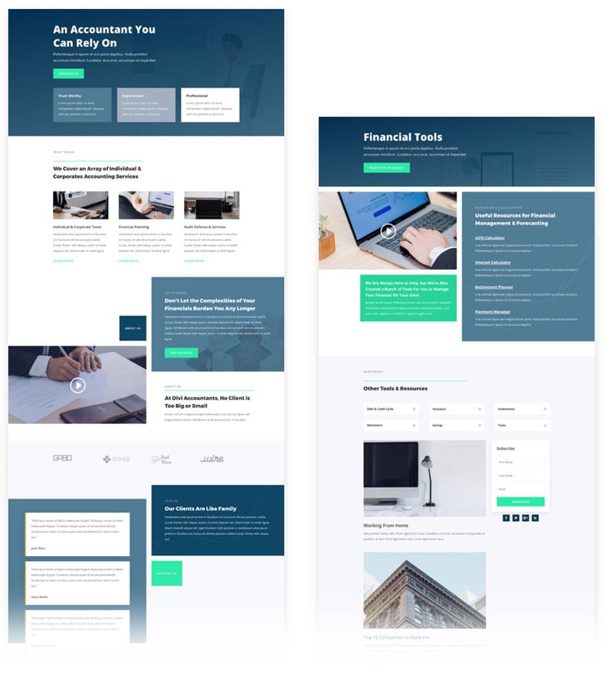 free divi layout accountact