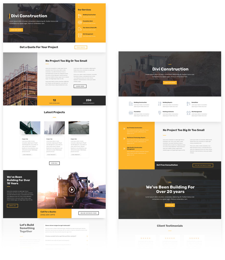 free divi layout construction