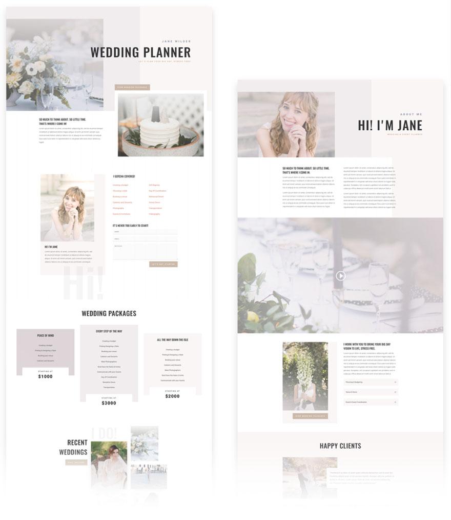 free divi layout wedding planner