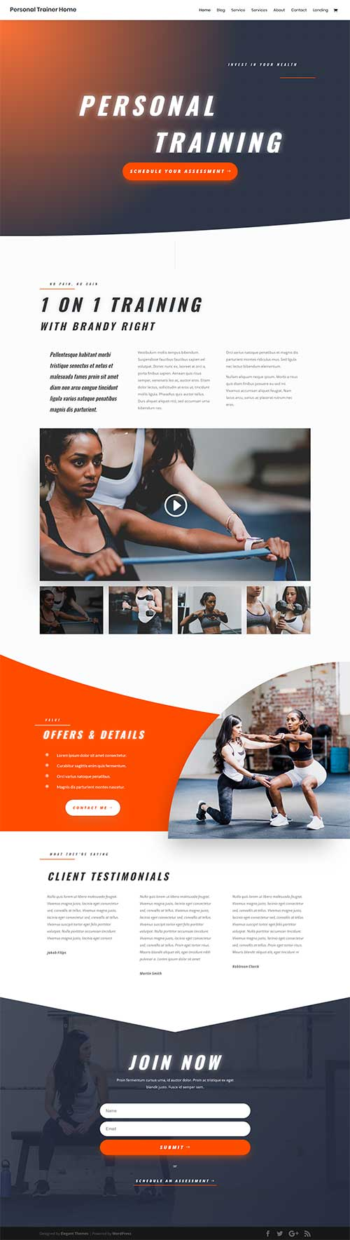 personal trainer layout template