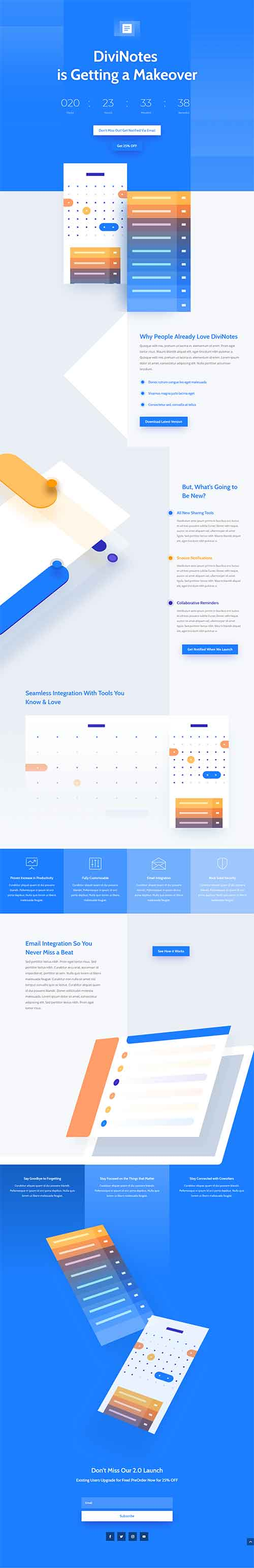 app landing page layout